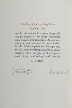 Candide oder der Optimismus (Candide or Optimism) [SIGNED BY THE ARTIST AND THE PUBLISHER]