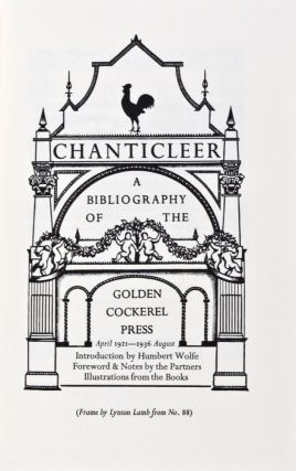 Bibliography of the Golden Cockerel Press, 1921-1949: Three Volumes in One. Humbert Wolfe, introd